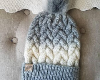 Braided cable hat, cable knit beanie, faux fur pom pom hat, ombre hat, ski hat, two tone color hat, knit hat