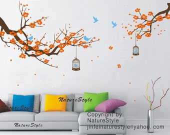 FREE SHIPPING - cherry blossom wall decals birds vinyl nursery wall decals tree wall mural cherry decor-Plum Blossom with Flying Birds