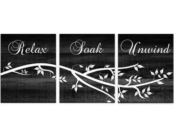 Relax Soak Unwind Modern Bathroom Art, Black Bathroom Wall Art, Wood Effect  Set of