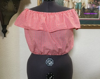 Off the Shoulder gingham top,Gingham top, Off the Shoulder Top, Pinup girl Top,Gingham Crop Top,Retro Clothing,Pinup girl clothing,1950s Top