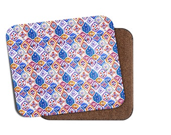 Set of 4 Placemats, Red Blue Mediterranean Tiles, Moroccan Placemats, Gift For Her, Kitchen Gift, Christmas Gift