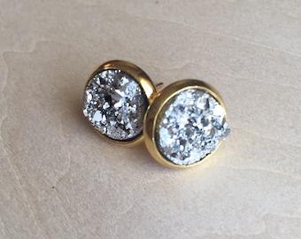 Sparkly stud earrings, 8mm faux druzy
