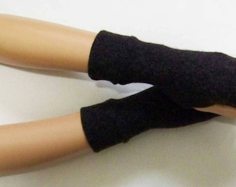 Cashmere, Short, Black-Gray melange, Hippie, Boho, Soft, Warm Fingerless Gloves with Thumb Holes. IDEAL for HER