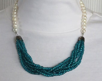 Teal Seed Bead and Freshwater Pearl Beaded Necklace