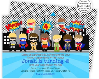 Superhero Invitation, Superhero Party, Superhero Pool Party, Superhero Birthday Invitation, Super Hero Invites, Superhero Invitations | 221