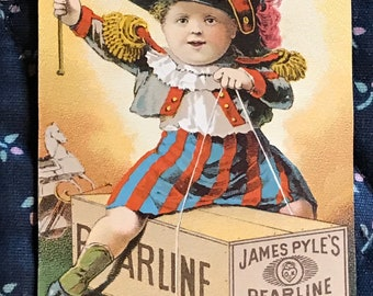 Victorian Trade Card 1800s, Cute Little Boy Wearing Military Uniform, James Pyles Washing Compounds, Wonderful Antique Paper