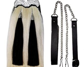 Scottish Kilt Sporran Horse Hair White Thistle Cantle/Piper Leather Kilt Sporran