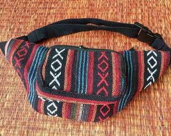 Tribal Fanny pack Hip purse Ethnic Ikat Styles Waist belt Bag Pouch Travel hip sack phanny Gypsy Boho Hmong Woven Folk festival Fashion Red