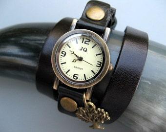 Sale - Tree Lovers Wrap Watch - Black or Brown Leather Watch -  Wrap Around Watch - Bronze Wrist Watch - Womens Watch