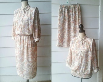 1980s Floral Spring Top and Skirt Set || Pink, Cream, Gray || Medium