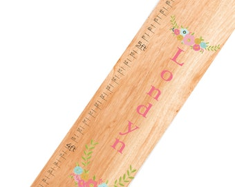 Personalized Spring Floral Natural Growth Chart