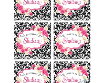 BLACK DAMASK and ROSES Printable Favor Tags