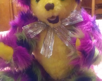 Original One of a Kind Handcrafted Mardi Gras Teddy Bear - Tho Me Sumthin Mista!