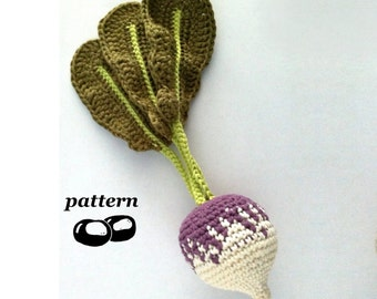 Crochet Turnip Pattern / Crochet Rutabaga Pattern / Crochet Vegetable Pattern / Crochet Food Pattern