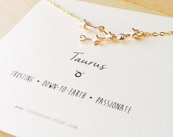 Taurus Necklace, taurus constellation necklace, gold taurus necklace, constellation necklace, taurus jewelry, zodiac jewelry, 14k