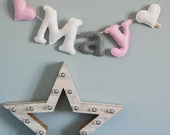 Personalised name bunting - name garland - name bunting - felt name garland - baby gift - baby decor - handmade - made in UK - made to order
