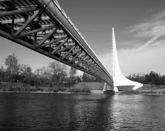 Photograph of the Sundial Bridge at Turtle Bay, Redding, California - Back and White