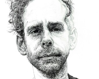 Bryce Dessner of The National illustration print - Unfinished style portrait of American musician in pen / pencil
