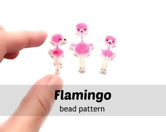 3 Flamingo Brick Stitch Beading Patterns Digital Download (2018)