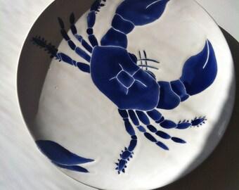 Navy blue crab ceramic round serving platter