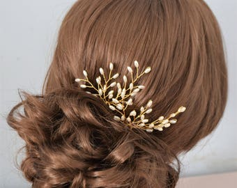 Pair of bridal seed pearl hair pins in either gold or silver pearl spray hairpins bridal hairpiece bridesmaid hair accessory headpiece