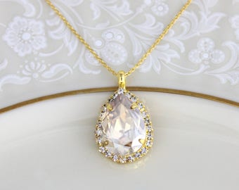 Crystal Bridal necklace, Swarovski crystal necklace, Wedding jewelry, Teardrop crystal necklace, Champagne crystal necklace, Bridesmaid gift
