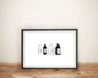 "Willamette Valley Bottles - Willamette Valley, OR | Printable Artwork | 5"" x 7"""