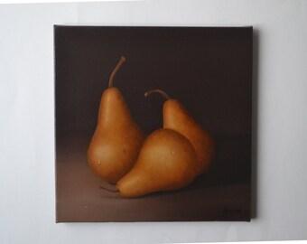 Acrylic 10x10' bosc pear painting, small still life painting, kitchen painting, tiny food painting, food miniature, pears artwork, fruit art