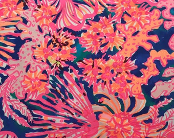 """swirling seadream beach twill cotton fabric square 18""""x18"""" ~ lilly resort 2017 ~ lilly pulitzer"""