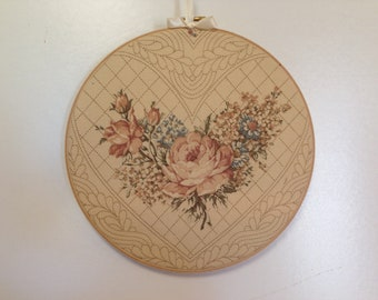 Romantic Home Decor, RARE Joan Kessler Fabric, Shabby Country Chic,  Roses Hoop Art, Lace At Midnight, Feminine Bedroom, Gallery Walll Art