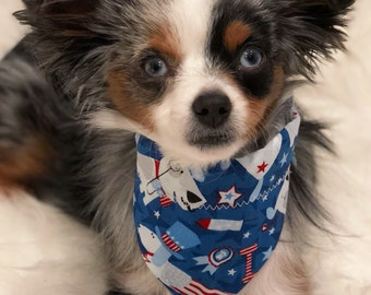 Fourth of July Dog Bandana, Pet Bandana with Dogs, Bones, and Red/White/Blue