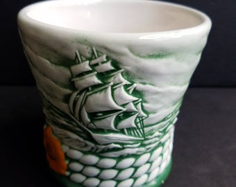 Vintage White with Green Cutty Sark Ceramic Cup with Clipper Ships and Rope Like Detail