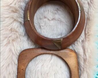 Bohemian chic wooden bangle bracelet
