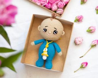 Baby boy in blue Crochet toy , amigurumi toy, crochet doll baby gift