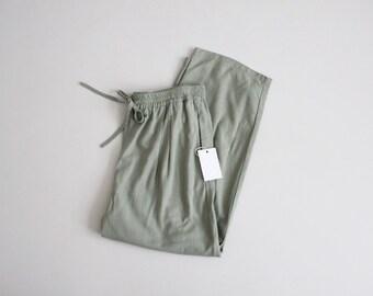 raw silk trousers | sage green pants | silk lounge pant