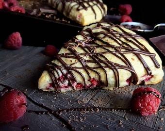 Raspberry Orange Scone w/ Dark Chocolate Drizzle - Raspberry Heartbreaker Dozen (12)