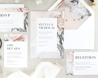 Blush Wedding Invitations - Marble Wedding Invitation Suite - Modern Wedding Invites and RSVP - Typography Wedding Invitation - Set of 10