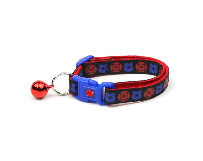 Police & Firefighter Collar - Fire and Police Badges on Black - Kitten or Large Size - Breakaway Cat Collar