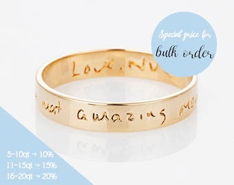 Custom Signature Ring, Actual Handwriting Ring, Personalized Memorial Jewelry, Wedding rings,  Eternity Ring