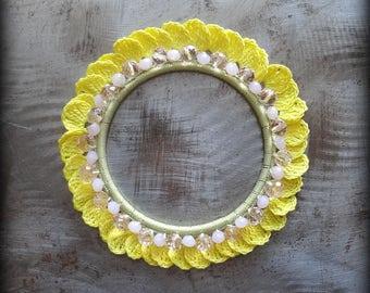 Crocheted Flower Bracelet, Small, Handmade, Glass Beads, Original, Sparkle, Petals, Yellow, Light Green, Unique, One of Kind, Monicaj