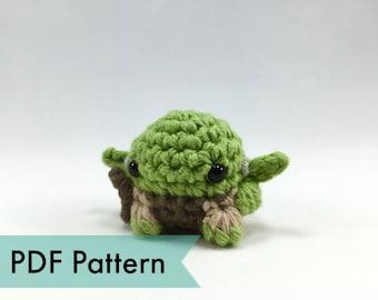 "PDF Pattern for Crocheted Yoda from Star Wars Amigurumi Kawaii Keychain Miniature Doll ""Pod People"""