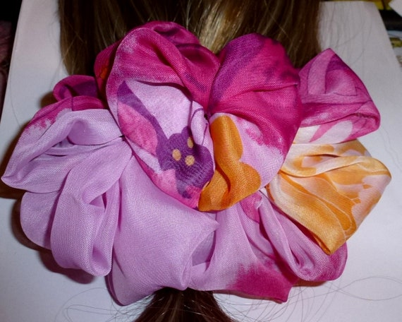 Becky's Hair bows for women ~ ladies jaw clip floral oversized hair bow pink rosette swirls