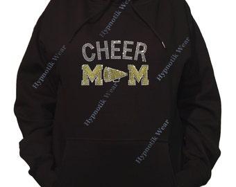 """Rhinestone Women's Pullover Hoodie """" Yellow Cheer Mom with Megaphone in Rhinestones """" Sweatshirt Sm to 3X"""