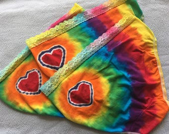 Heart Ass Hi Cut Undies lace, rainbows and a heart! Size large