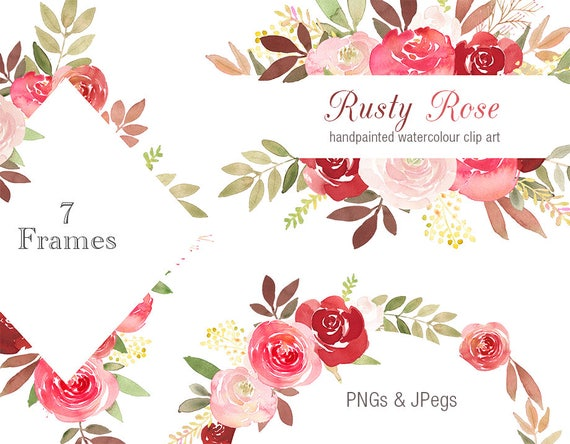 Border For Wedding Invitation Clip Art: Floral Clipart Frames Rusty Rose Flower Border Watercolor