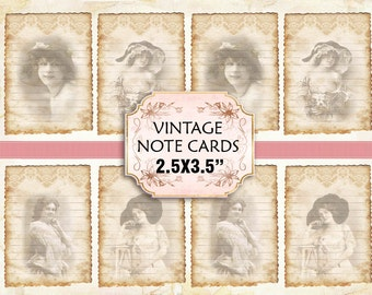Vintage Woman Note Cards Shabby chic paper Scrapbook Decoupage 2.5x3.5 inch  (397)