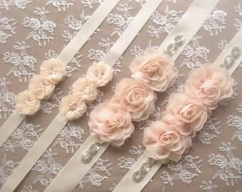 Rhinestone and Flower Sash Bridal Sash Bridal Belt Ivory, Blush or White Satin Sash Flower Girl Sash Bridesmaids Wedding Sash