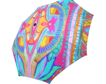 3D effect-hand painted - Large and automatic foldable umbrella- Rain and sun- customizable-Hand painted design