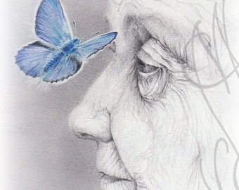 "Martinefa's original drawing - ""Vieille femme au papillon"" - (Old woman with butterfly)"