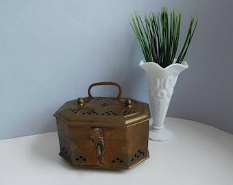 Vintage brass cricket box Metal potpourri box Trinket box